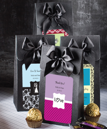 "Black ""Delivered With Love"" Boxes From The Personalized Expressions Collection wedding favors"