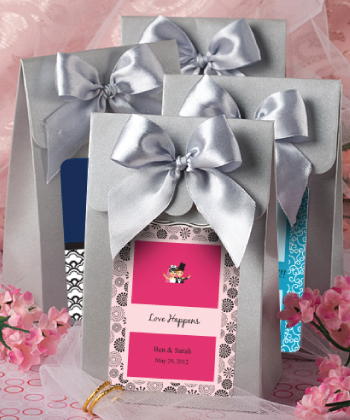 "Silver ""Delivered With Love"" Boxes From The Personalized Expressions Collection wedding favors"