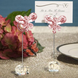Exquisite Pink Crystal Butterfly Place Card Holders wedding favors