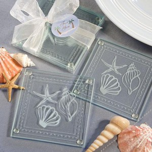 Beach Themed Glass Coaster Favors wedding favors