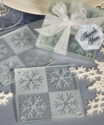 Lustrous Snowflake Glass Coaster Set wedding favors