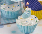 Blue Cupcake Design Candle Favors wedding favors