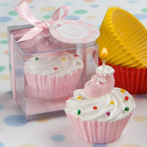 Pink Cupcake Design Candle Favors wedding favors