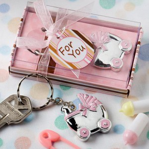 Pink Baby Carriage Design Key Chains wedding favors