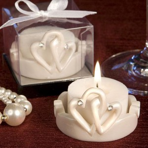 Interlocking Hearts Design Favor Saver Candles wedding favors