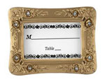 Gold Resin Wedding Place Card Holders - White With Rhinestones wedding favors