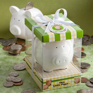 """This Little Piggy"" Ceramic Bank wedding favors"