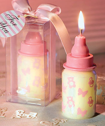 Pink Baby Bottle Candle Favors wedding favors