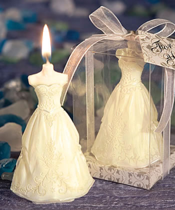 Elegant Wedding Gown Candle Favors wedding favors