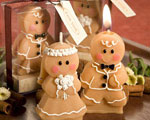 Adorable Gingerbread Bride & Groom Candle Favors wedding favors