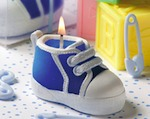 Blue Baby Bootie/Sneaker Design Candle wedding favors
