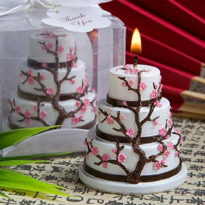Cherry Blossom Design Cake Candle Favor wedding favors