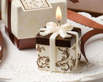 Ivory And Brown Gift Box Collection Candle Favor wedding favors