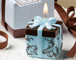 Brown And Blue Gift Box Collection Candle Favor wedding favors