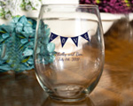 Personalized Stemless Wine Glasses 9 oz wedding favors