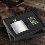 NFL Zippo Lighter and Brushed Flask gift set wedding favors