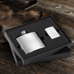 Brushed Flask and Zippo Lighter Gift Set wedding favors