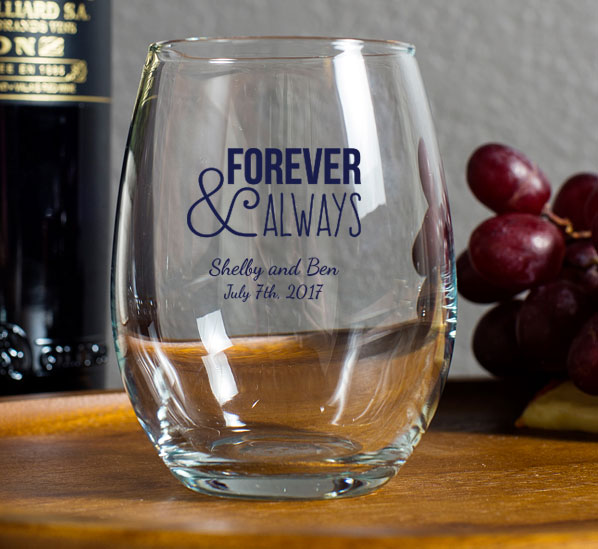Personalized Stemless Wine Glasses wedding favors