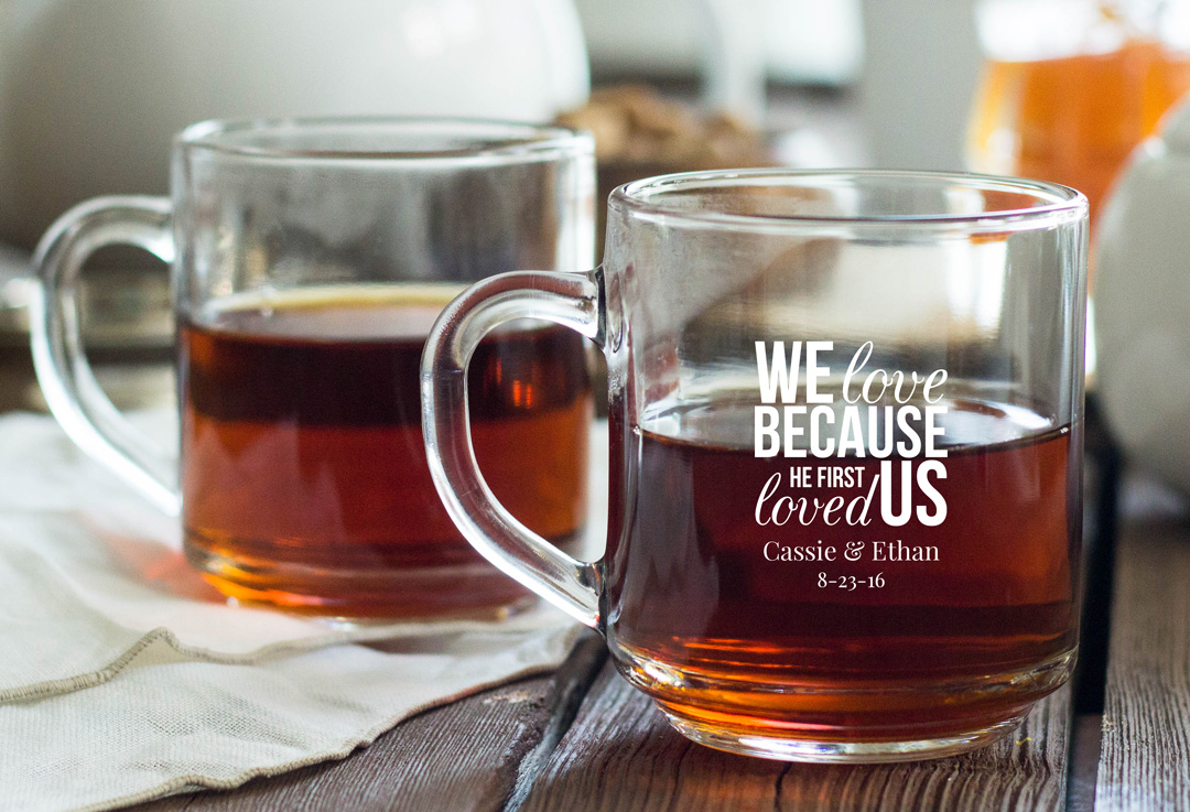Personalized Glass Coffee Mug Favors wedding favors