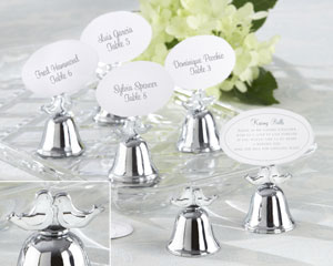 """Lovebirds"" Silver-Finish Kissing Bell Place Card Holder (Set of 24) wedding favors"