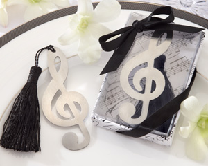 """Timeless Duet"" Brushed-Metal Openwork Bookmark with Elegant Silk Tassel wedding favors"