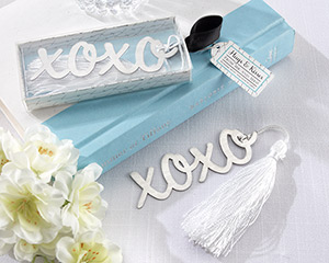 """Hugs & Kisses"" Silver-Finish Bookmark with Elegant White-Silk Tassel wedding favors"