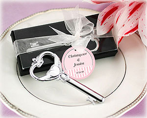 """Key To My Heart"" Victorian Style Bottle Opener wedding favors"