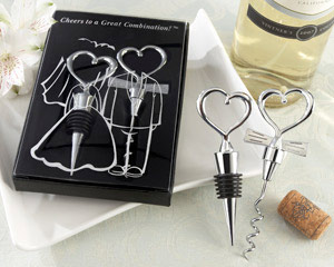 """Cheers to a Great Combination"" Wine Set wedding favors"