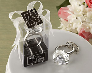 """With This Ring"" Engagement Ring Keychain wedding favors"