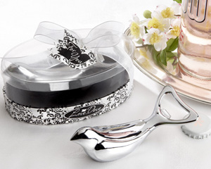 "The ""Love Dove"" Chrome Bottle Opener in Elegant, Oval Showcase Giftbox wedding favors"