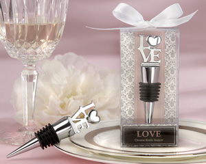 """LOVE"" Chrome Bottle Stopper wedding favors"