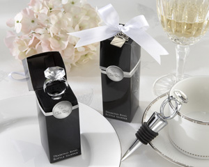 """With This Ring"" Chrome Diamond-Ring Bottle Stopper wedding favors"