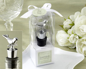 """Lovebirds"" Chrome Bottle Stopper wedding favors"