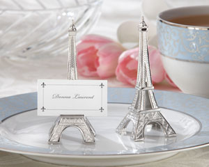 """Evening in Paris"" Eiffel Tower Silver-Finish Place Card/ Photo Holder wedding favors"