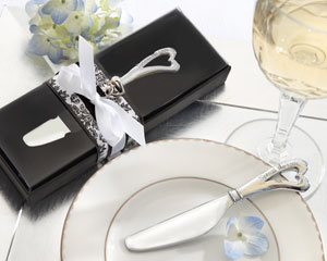"""Spread the Love"" Chrome Spreader with Heart-Shaped Handle wedding favors"