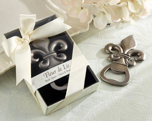 """Fleur de Lis"" Pewter-Finish Bottle Opener wedding favors"