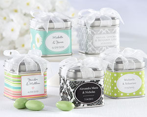 """Unexpected Treasures!"" Favor Tin with Pre-Tied Organza Bow wedding favors"
