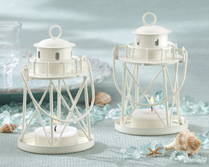 """By the Sea"" Lighthouse Tea Light Holder wedding favors"