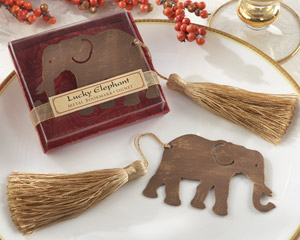 """Lucky Elephant"" Metal Bookmark with Elegant Gold Silk Tassel wedding favors"