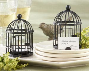 """Love Songs"" Birdcage Tea Light/Place Card Holder wedding favors"