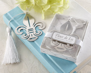 Fleur-de-Lis Metal Bookmark with Elegant White-Silk Tassel wedding favors