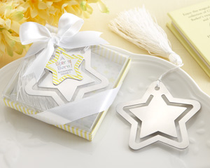 """A Star is Born!"" Metal Bookmark with White-Silk Tassel wedding favors"
