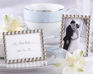 """Silver Pearls"" Mini Photo Frame wedding favors"