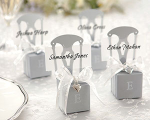 Miniature Silver Chair Favor Box w/  Heart Charm & Ribbon (Can be Monogrammed) wedding favors