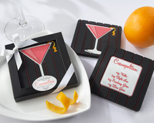 """Oh, So Cosmopolitan"" Reversible Recipe Coaster wedding favors"