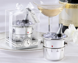 """It's About Time! Let's Celebrate"" Champagne Bucket Timer wedding favors"