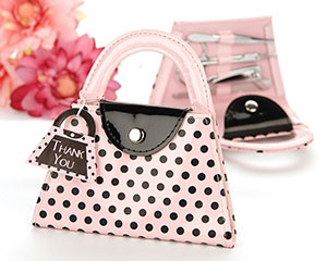 'Pink Polka Purse' Manicure Set wedding favors