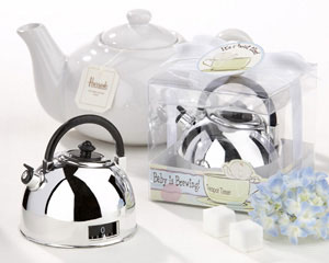 """It's About Time - Baby is Brewing"" Teapot Timer wedding favors"