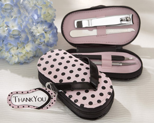 """Pink Polka Flip Flop"" Four Piece Pedicure Set with Matching ""Thank you"" Tag wedding favors"