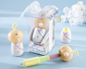 """Baby On Board"" Expandable Pen in Car Seat Packaging wedding favors"